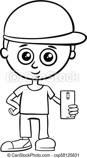 Boy Character With Smart Phone Color Book