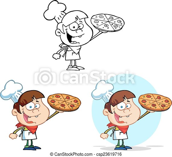 Boy Chef Holding A Pizza Collection - csp23619716