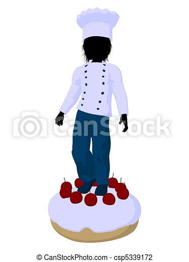 Boy Chef Silhouette Illustration - csp5339172
