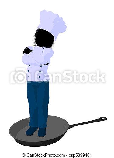 Boy Chef Silhouette Illustration - csp5339401