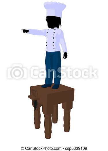 Boy Chef Silhouette Illustration - csp5339109