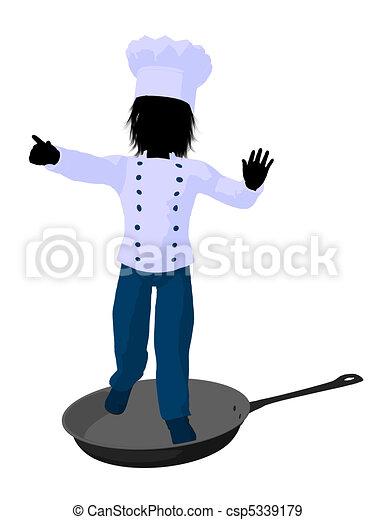 Boy Chef Silhouette Illustration - csp5339179