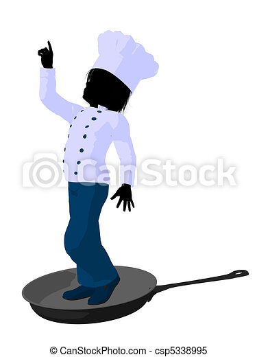 boy chef silhouette illustration boy chef in a skillet on a white rh canstockphoto com Pastry Chef Clip Art Pastry Chef Clip Art
