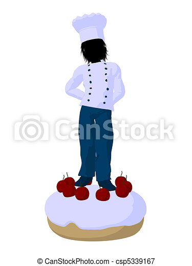 Boy Chef Silhouette Illustration - csp5339167