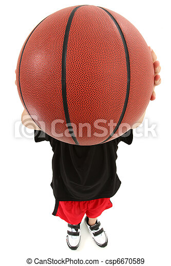 Boy Child Basketball Player Throwing Ball in Camera Face - csp6670589