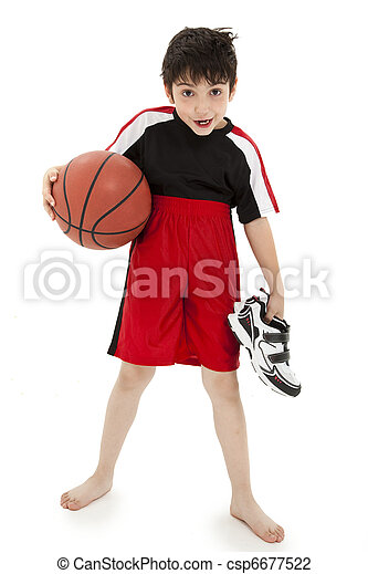 Boy Child Basketball Playing Nerd - csp6677522