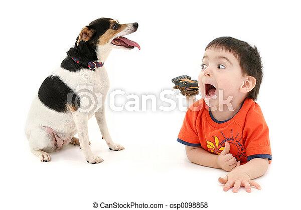 Boy Child Dog - csp0098858