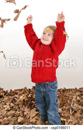 Boy Child Leaves - csp0166011