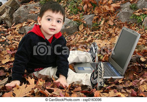 Boy Child Leaves - csp0163096
