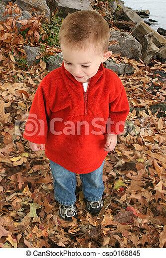 Boy Child Leaves - csp0168845
