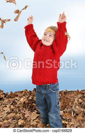 Boy Child Leaves - csp0166829