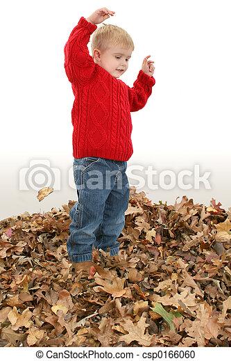 Boy Child Leaves - csp0166060