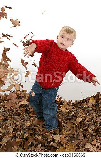 Boy Child Leaves - csp0166063