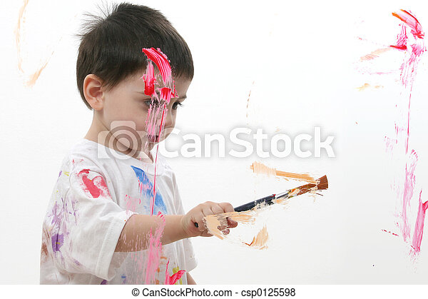 Boy Child Painting - csp0125598