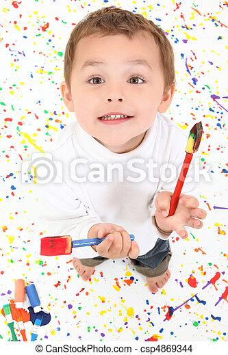 Boy Child Painting - csp4869344