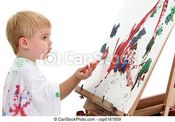 Boy Child Painting - csp0161859