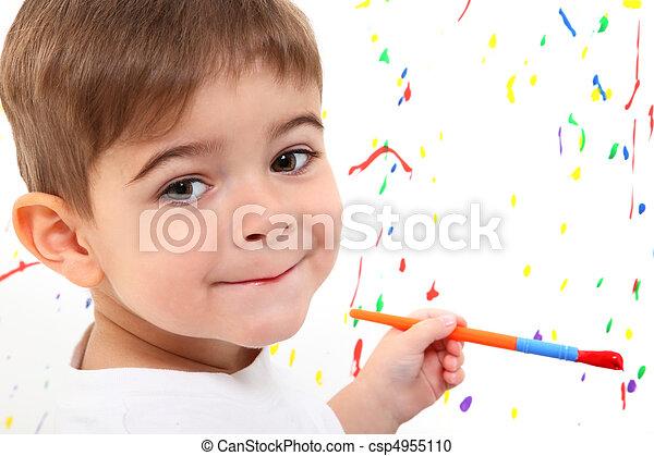 Boy Child Painting - csp4955110