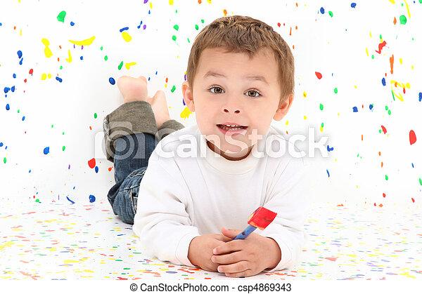 Boy Child Painting - csp4869343