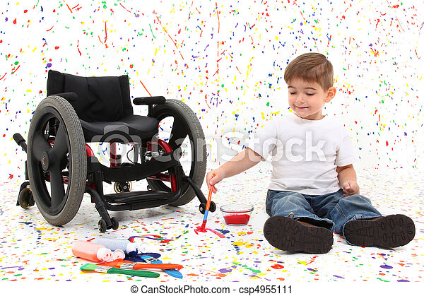 Boy Child Painting Wheelchair - csp4955111