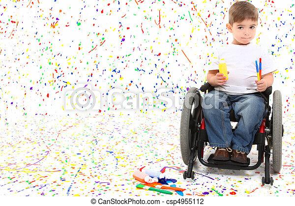 Boy Child Painting Wheelchair - csp4955112