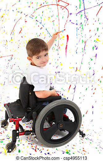 Boy Child Painting Wheelchair - csp4955113