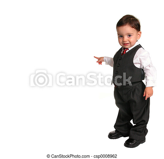 1690cc1a6 Boy child suit tie. Small child in a business suit pointing to the ...