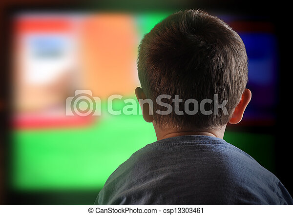 Boy Child Watching Television at Home - csp13303461