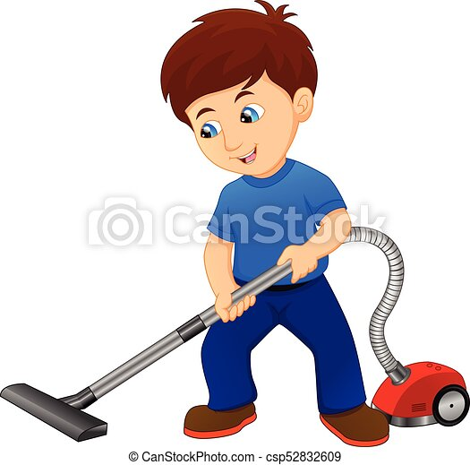 Vector illustration of boy cleaning the floor with vacuum ...