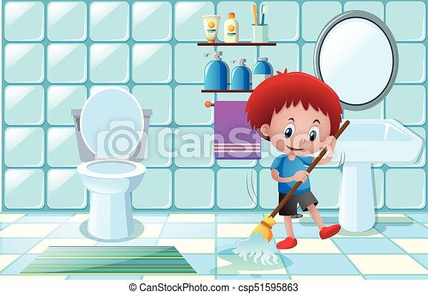Boy Cleaning Wet Floor In Bathroom