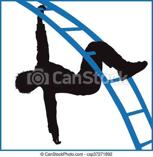 boy climbing a jungle gym at the park - csp37271892