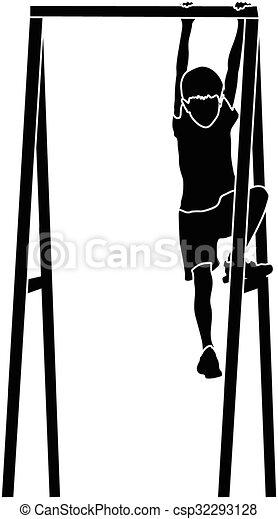 boy climbing a jungle gym - csp32293128