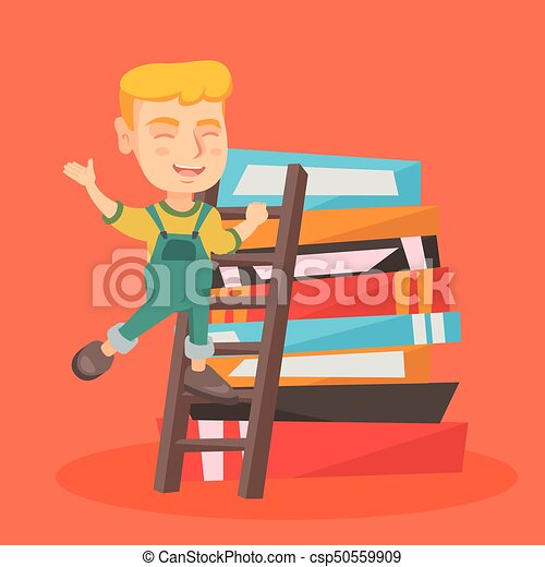 Boy climbing up a ladder on the pile of books. - csp50559909