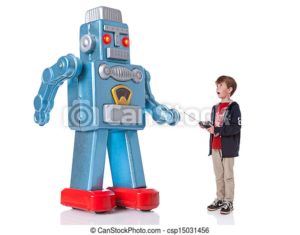 Boy controlling a giant robot - csp15031456