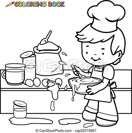 Boy cooking coloring book page. Little boy cooking and making a mess ...