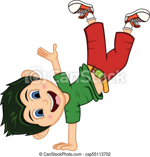 Boy Dancing Cartoon With Hand Stand Pose Full Color