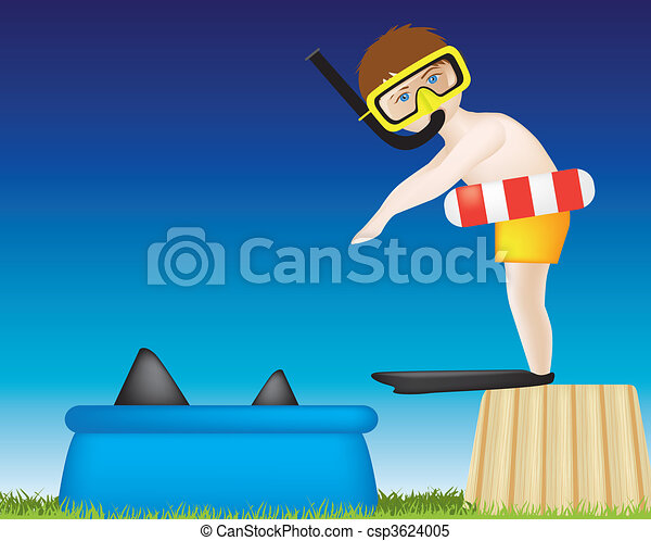 boy diving into pool of sharks - csp3624005
