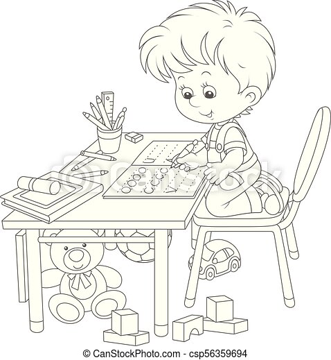 Boy doing homework after his game with toys - csp56359694