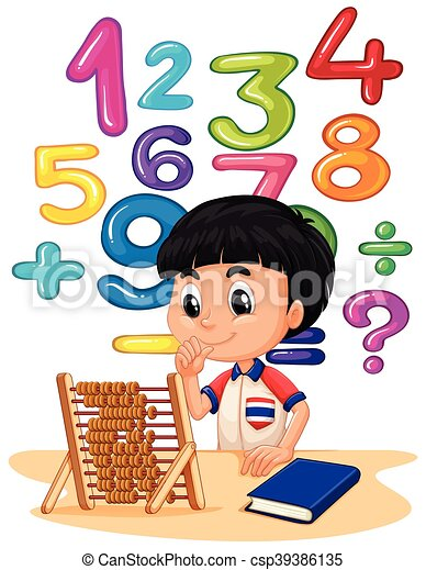 Boy doing math with abacus - csp39386135