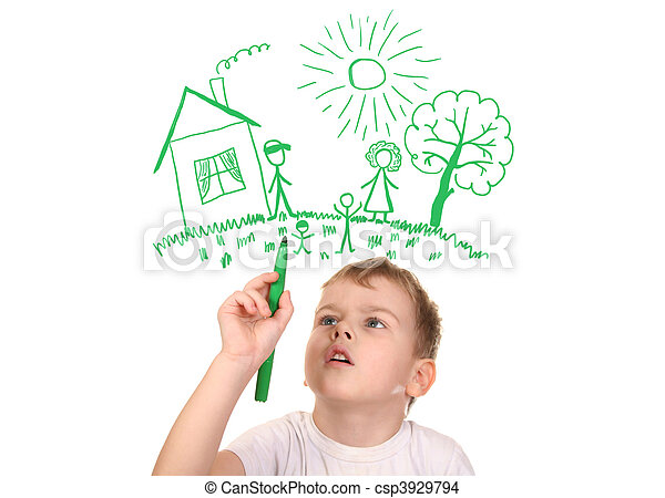 boy drawing  his family by felt-tip pen, collage - csp3929794