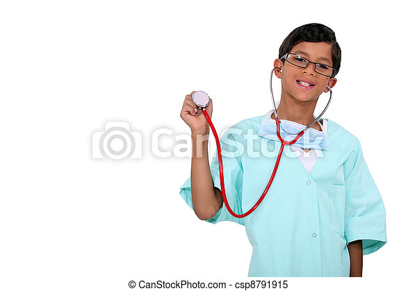 Boy dressed as a doctor - csp8791915