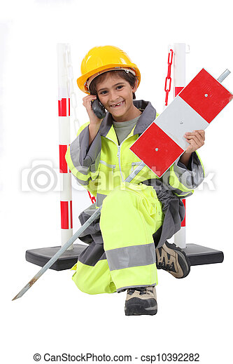 boy dressed as a road worker - csp10392282