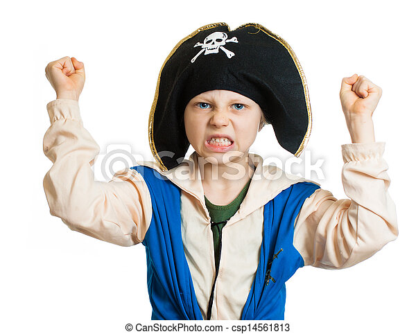 Boy dressed as angry pirate - csp14561813