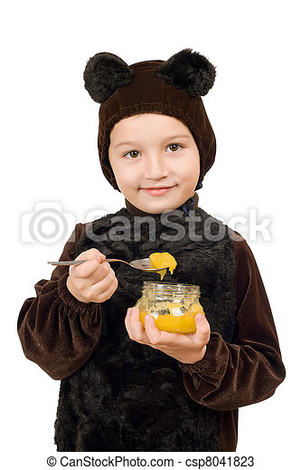 Boy dressed as bear. Isolated - csp8041823