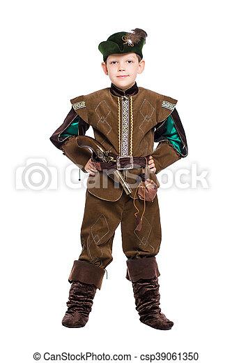 Boy dressed as hunter - csp39061350