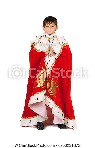Boy dressed in a robe of King. Isolated - csp8231373