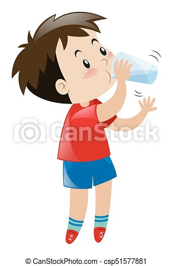boy drinking water from glass illustration vector - search clip art