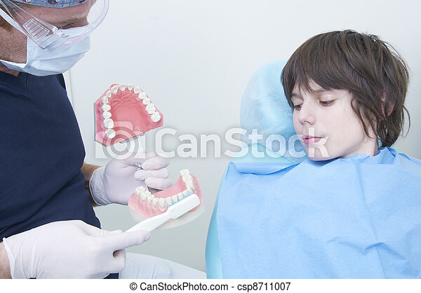 boy during a dental visit. doctor's clinic - csp8711007
