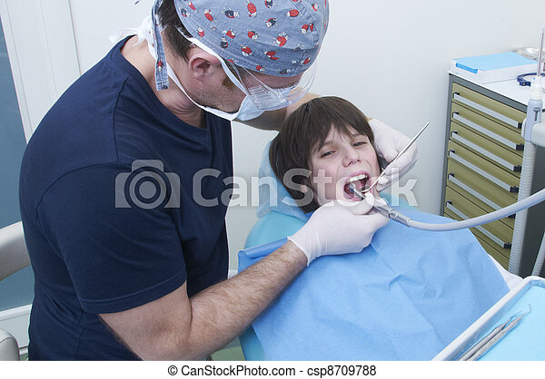 boy during a dental visit. doctor's clinic - csp8709788