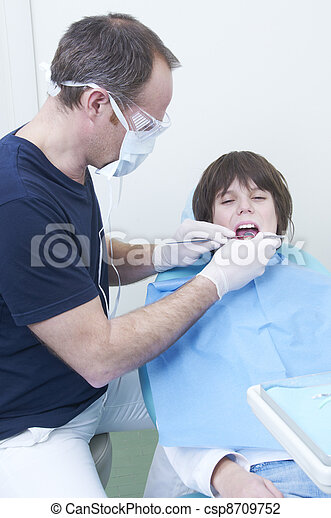 boy during a dental visit. doctor's clinic - csp8709752