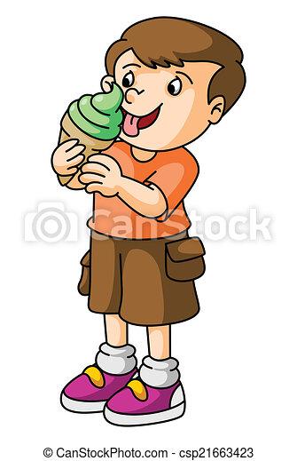 Boy Eat Ice Cream Vector